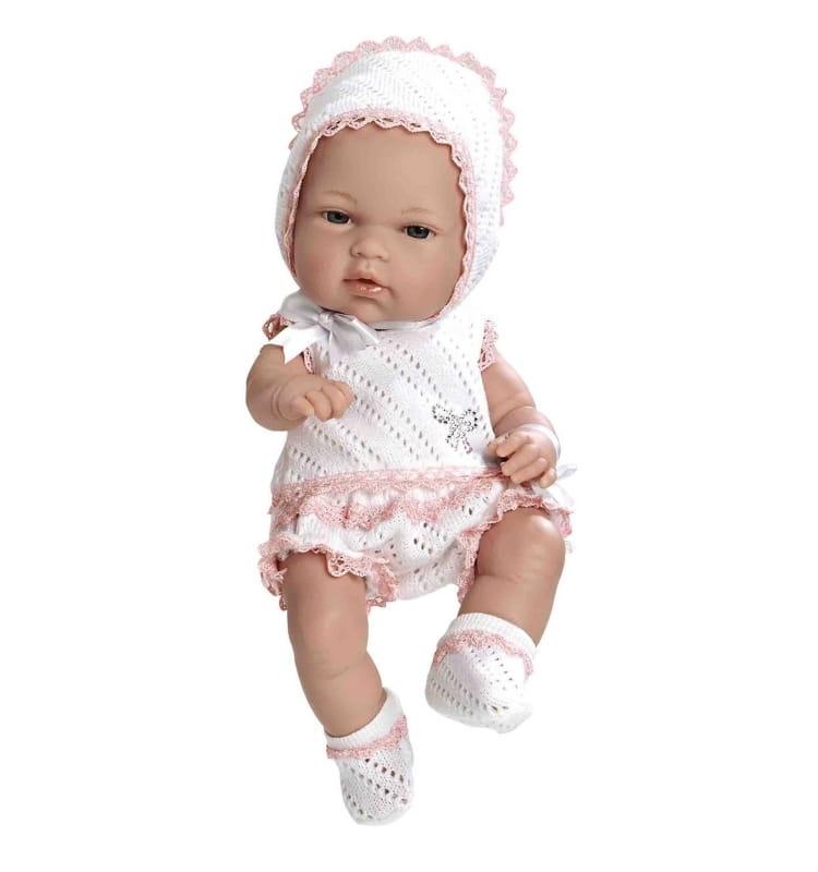 Пупс Arias Т59282 в бело-розовом костюмчике со стразами Swarowski - 33 см