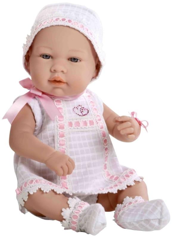 Пупс Arias Т59289 в бело-розовом платьице со стразами Swarowski в виде сердечек - 42 см
