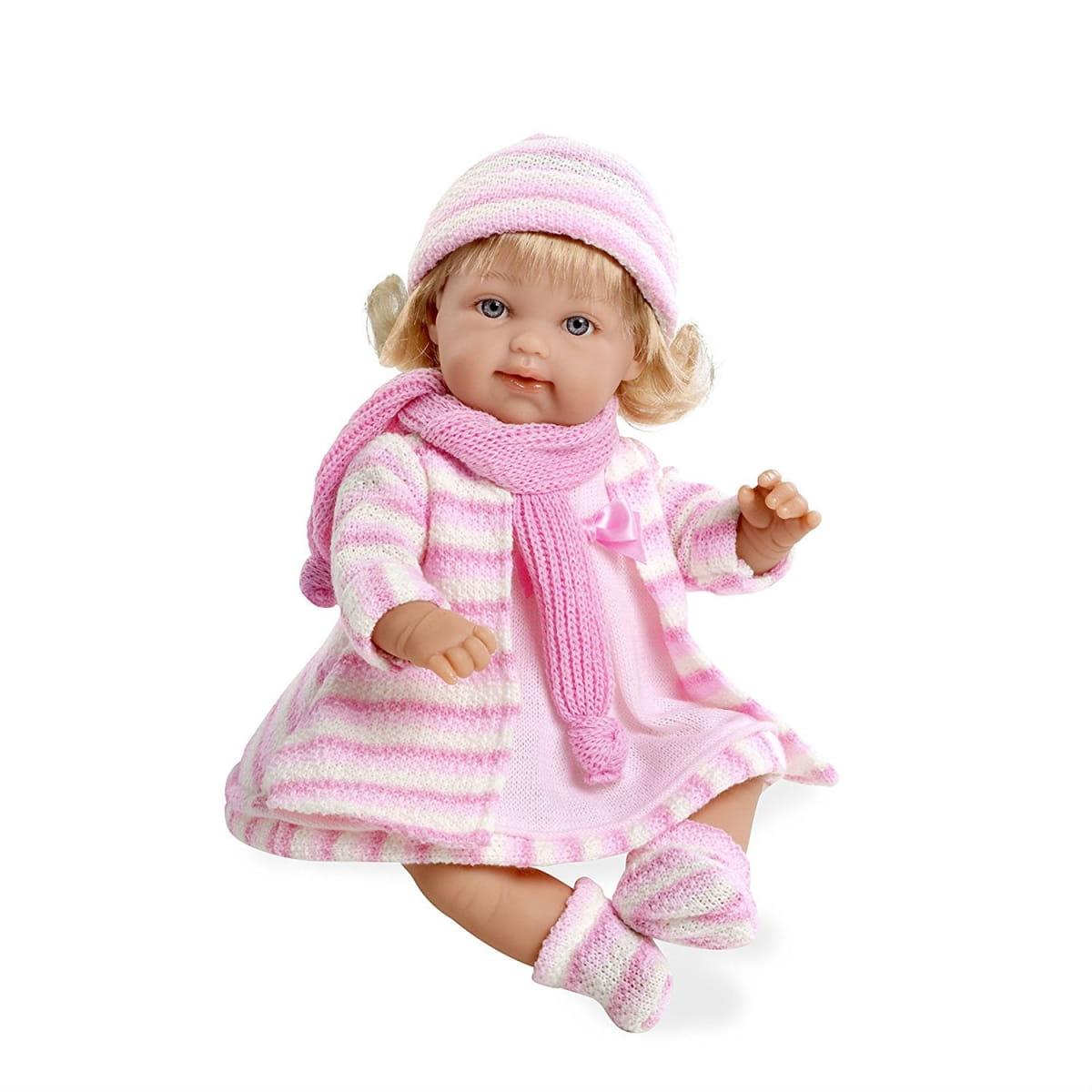 Пупс Arias Т59784 в розовом вязаном пальто - 33 см