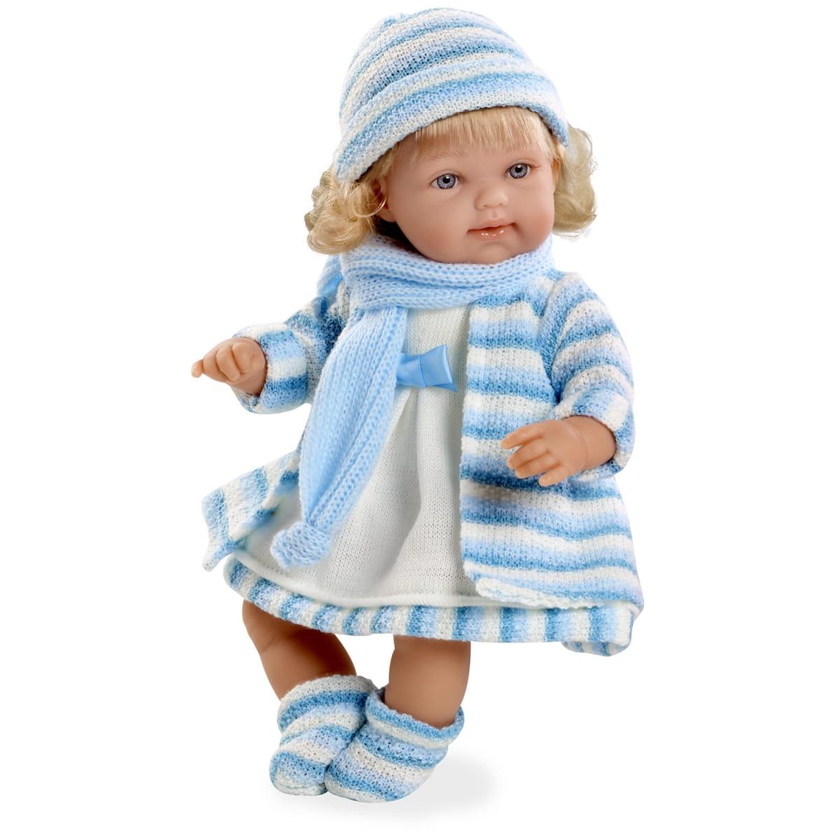 Пупс Arias Т59785 в голубом вязаном пальто - 33 см