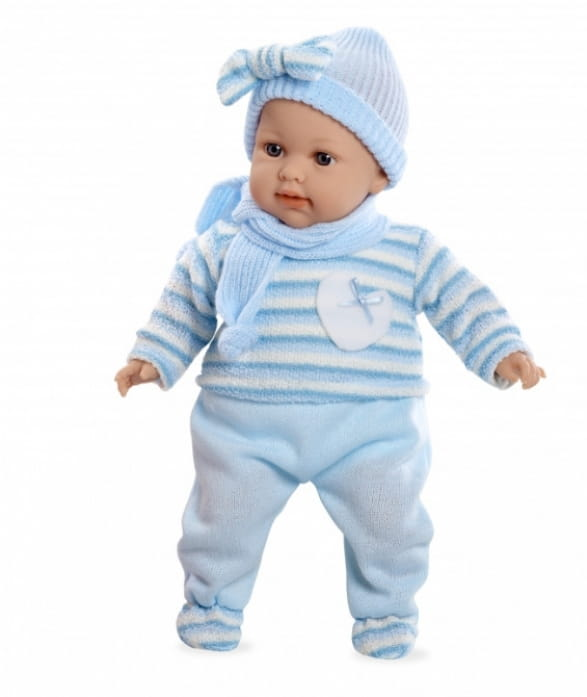 Пупс Arias Т59787 в голубом вязаном костюмчике - 42 см