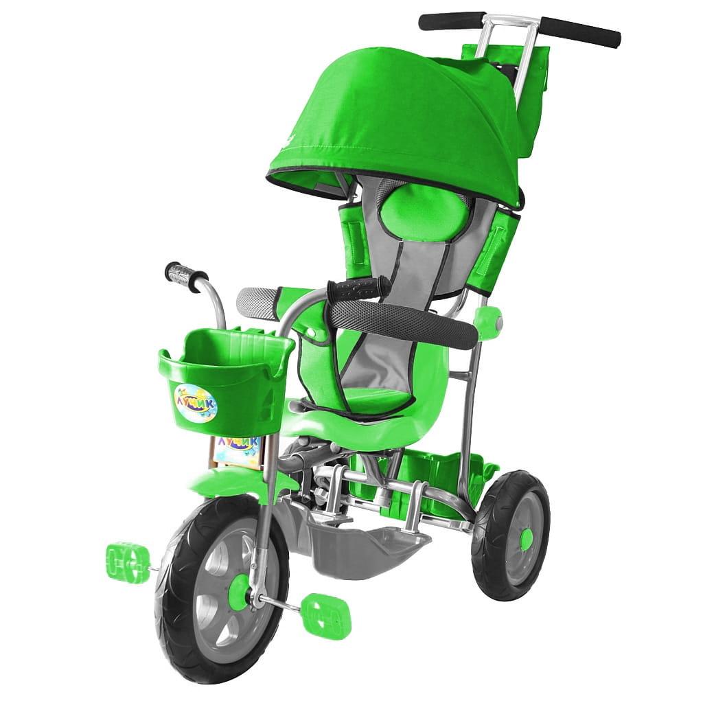 Трехколесный велосипед RT 5595 Galaxy Лучик - зеленый (с капюшоном)