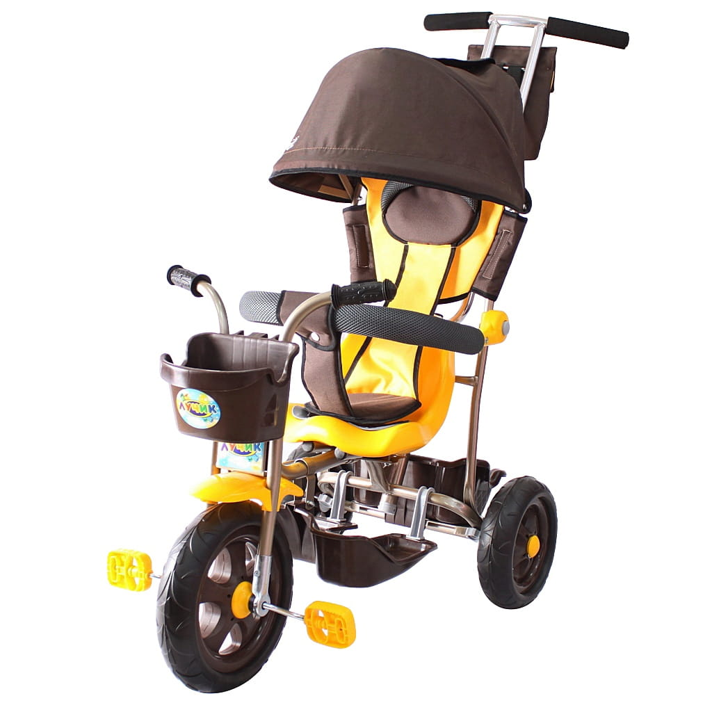 Трехколесный велосипед RT Galaxy Лучик - коричнево-желтый (с капюшоном)