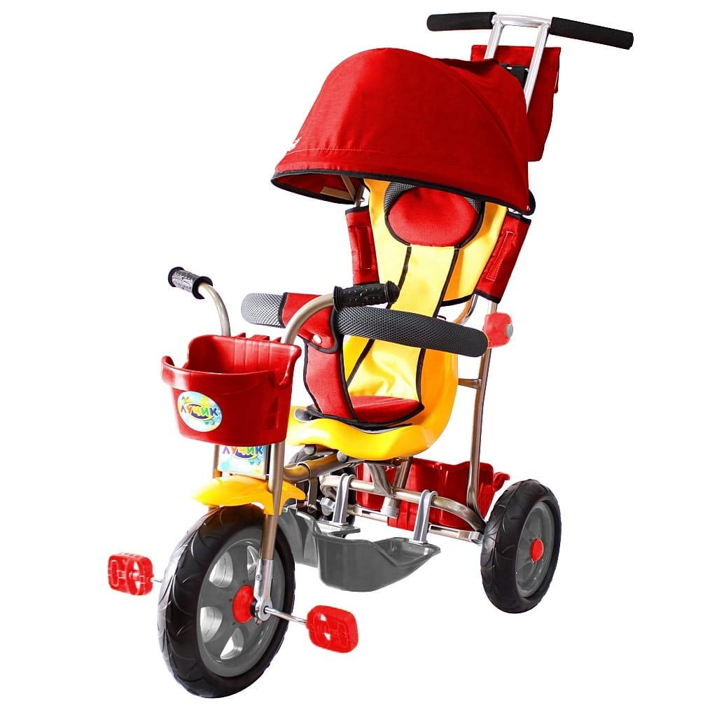 Трехколесный велосипед RT 5596 Galaxy Лучик - красный (с капюшоном)