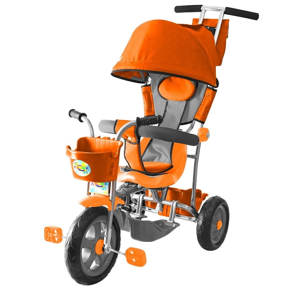 Трехколесный велосипед RT 5599 Galaxy Лучик - оранжевый (с капюшоном)