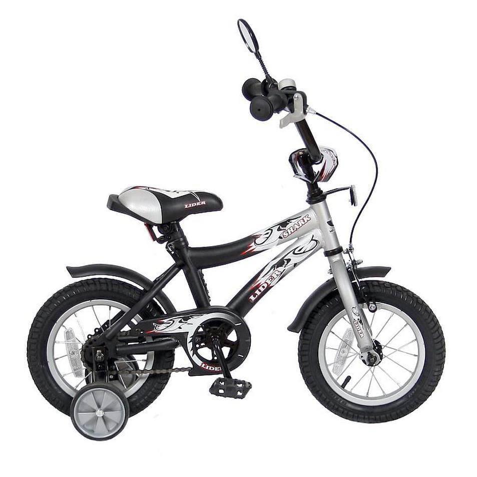 Детский велосипед VELOLIDER Shark - 12 дюймов (серо-черный)