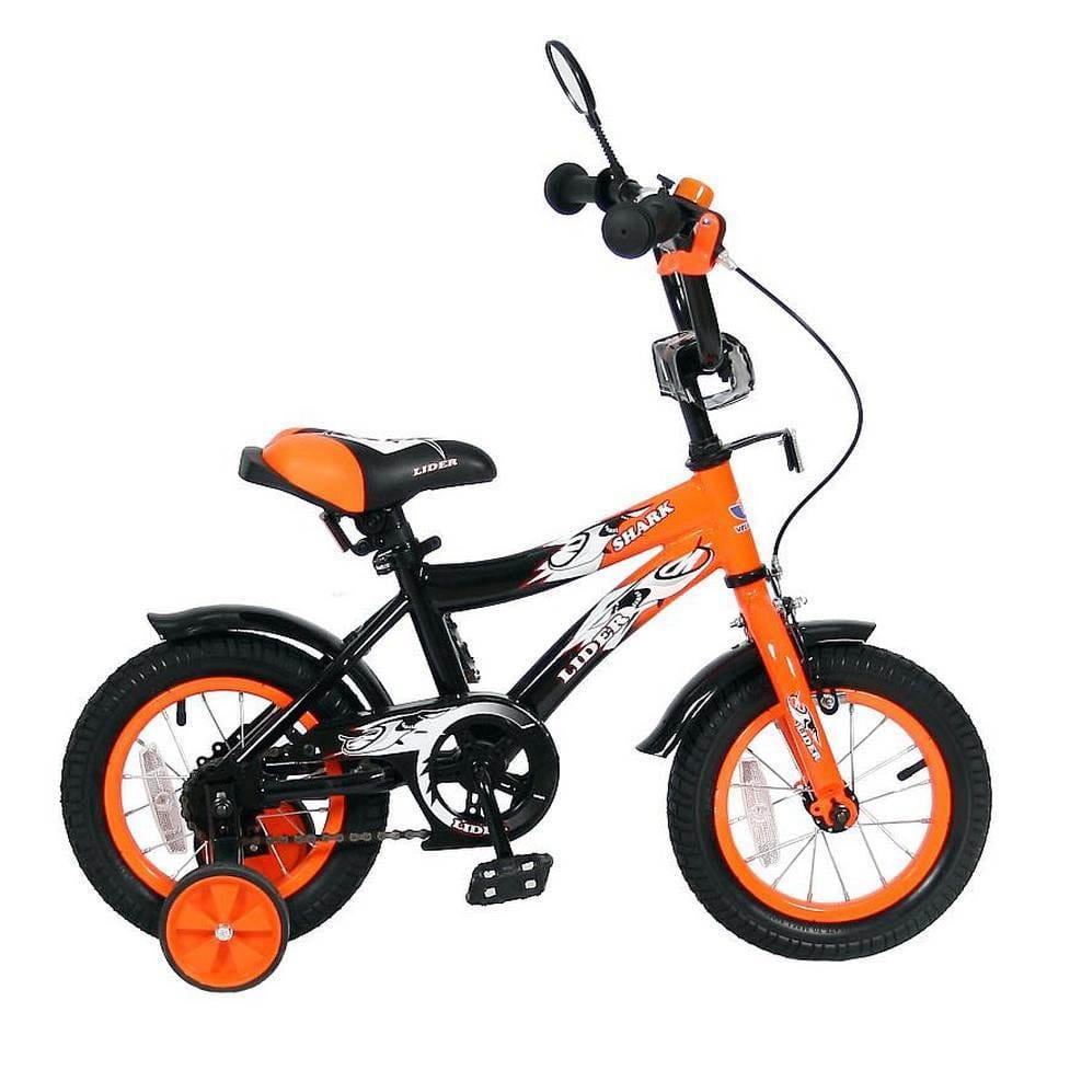 Детский велосипед VELOLIDER Shark - 12 дюймов (оранжево-черный)