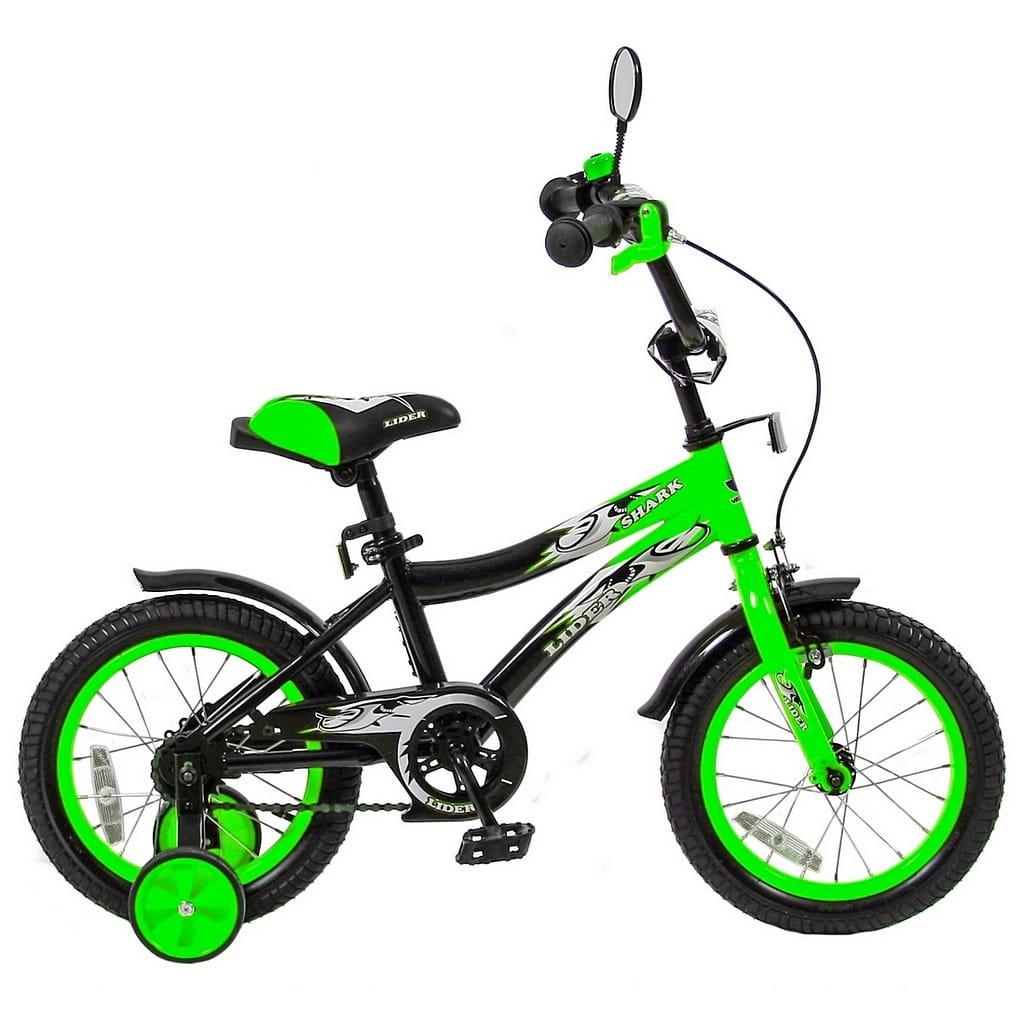 Детский велосипед Velolider 5515 Shark - 14 дюймов (зелено-черный)