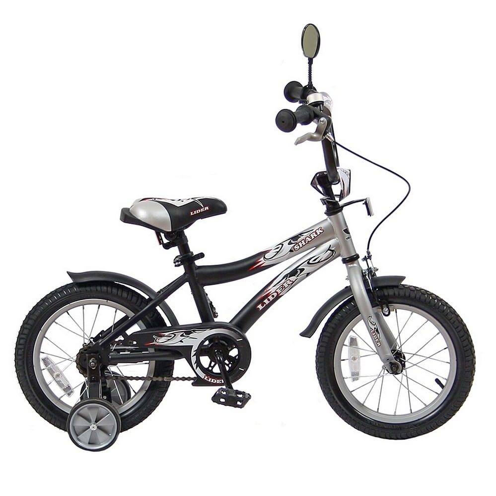 Детский велосипед Velolider 5517 Shark - 14 дюймов (серо-черный)