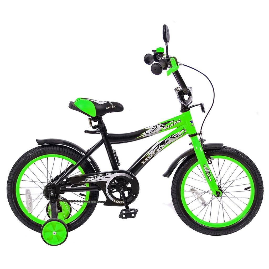 Детский велосипед Velolider 5524 Shark - 16 дюймов (зелено-черный)