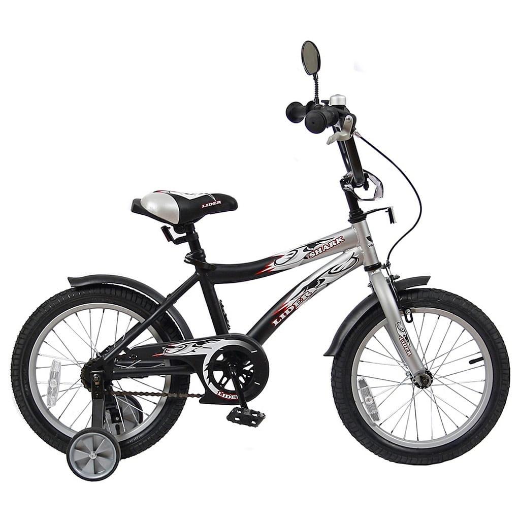 Детский велосипед Velolider 5526 Shark - 16 дюймов (серо-черный)