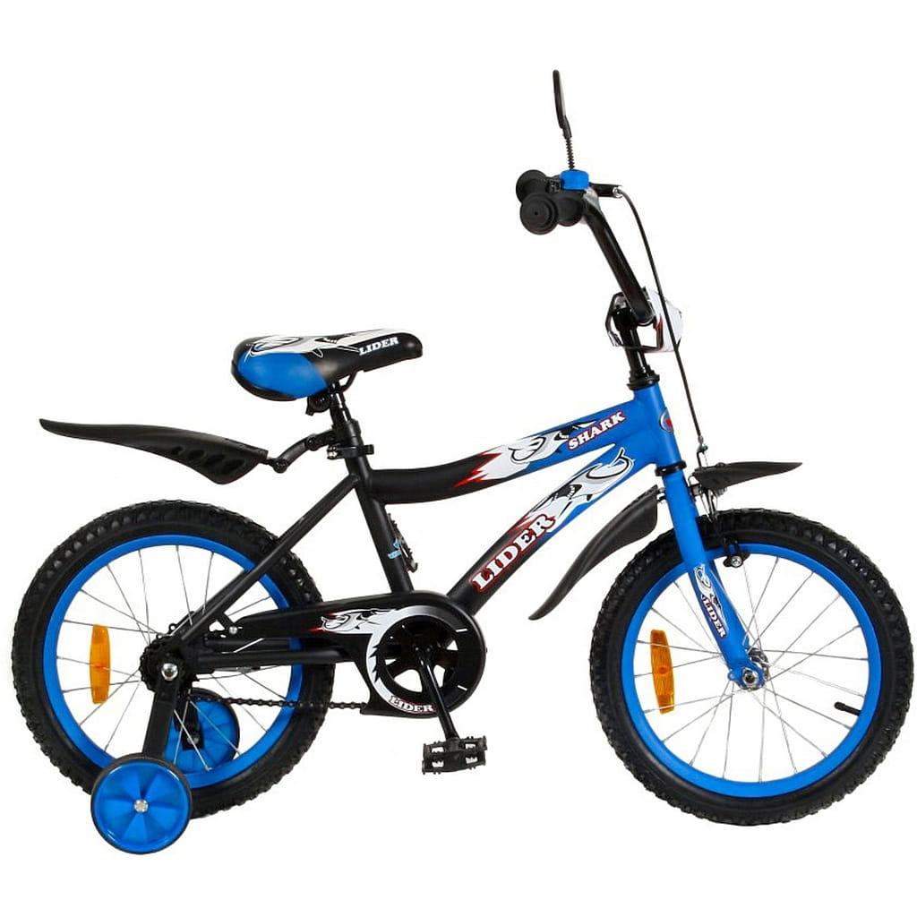 Детский велосипед Velolider 5527 Shark - 16 дюймов (сине-черный)