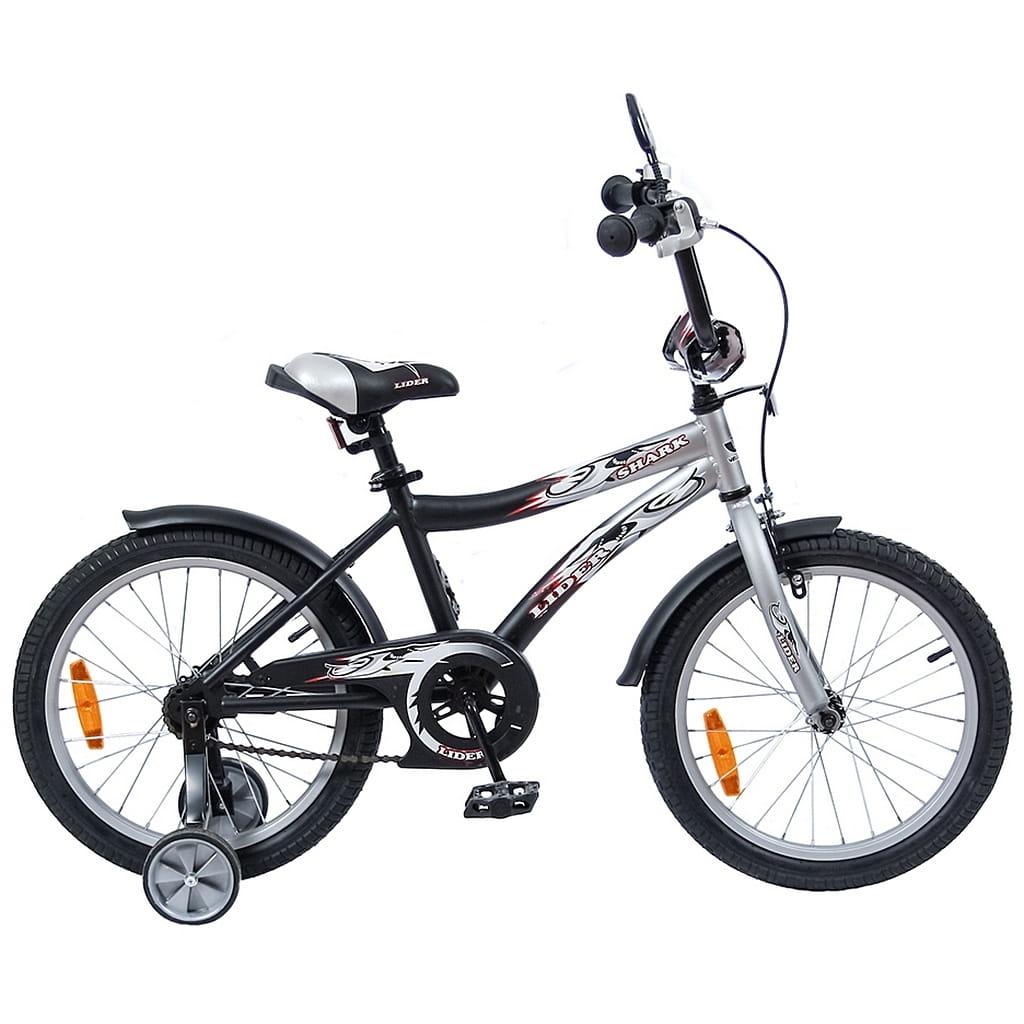 Детский велосипед Velolider Shark - 18 дюймов (серо-черный)