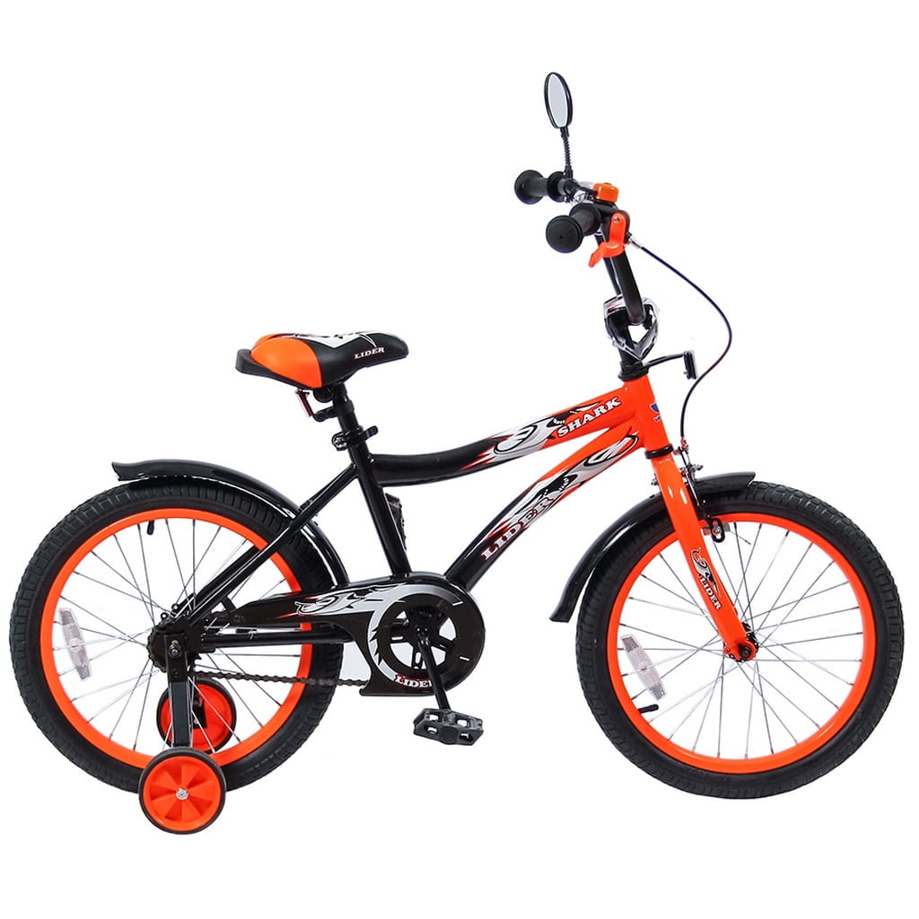 Детский велосипед Velolider Shark - 18 дюймов (оранжево-черный)