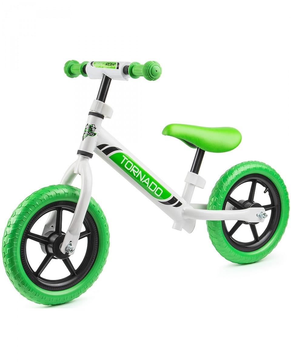 Детский беговел Small Rider 1244231 Tornado с цветными покрышками - бело-зеленый