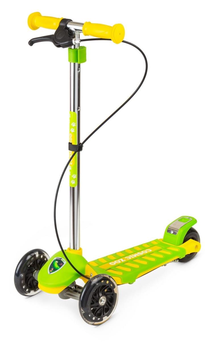 Самокат Cosmic Zoo 377544 Galaxy One - зелено-желтый (светящиеся колеса и ручной тормоз)