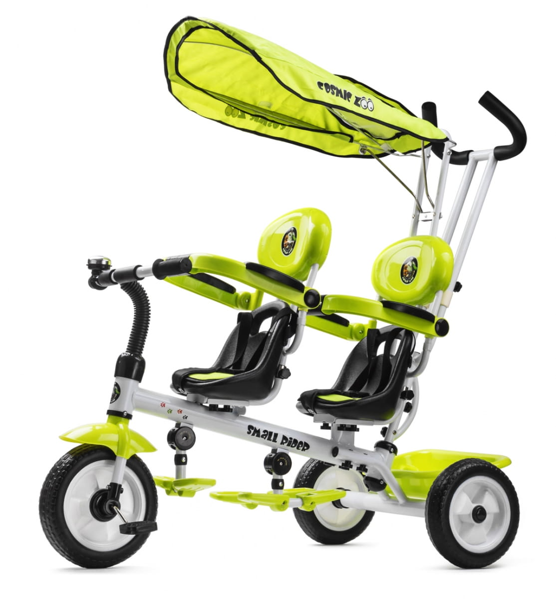 Детский трехколесный велосипед для двоих детей Small Rider Cosmic Zoo Twins - зеленый