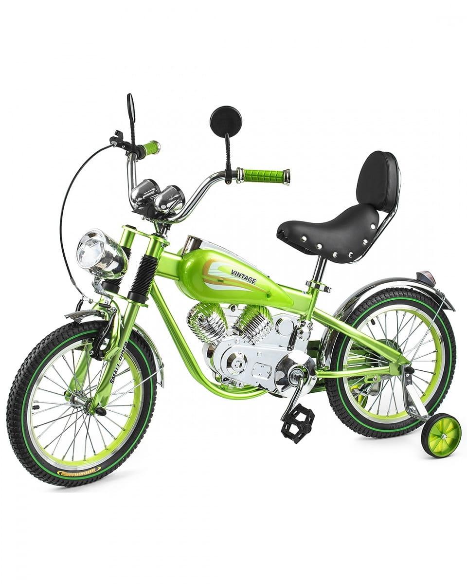 Детский коллекционный велосипед-мотоцикл SMALL RIDER Motobike Vintage - зеленый