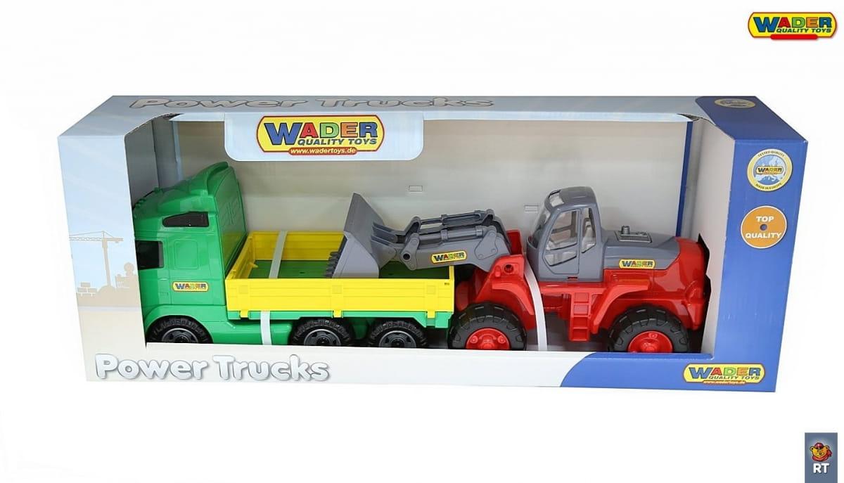 Игровой набор Wader 4650 Автомобиль бортовой с трактором-погрузчиком