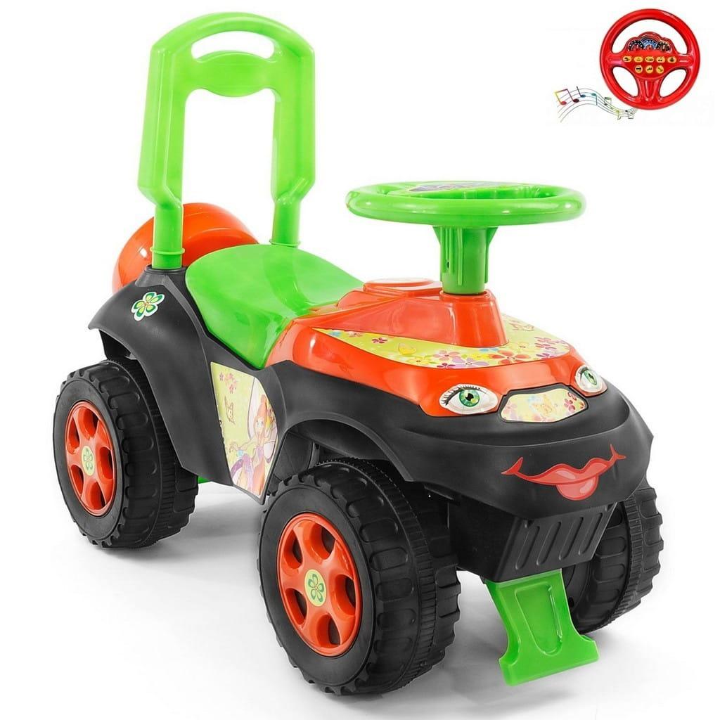 Каталка-толокар RT 5559 Автошка Винкс - зелено-оранжевая