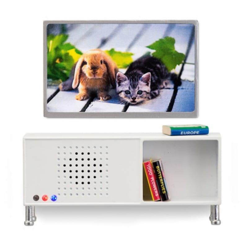 Набор мебели для домика Lundby LB_60208200 Музыкальный центр и телевизор (белый)