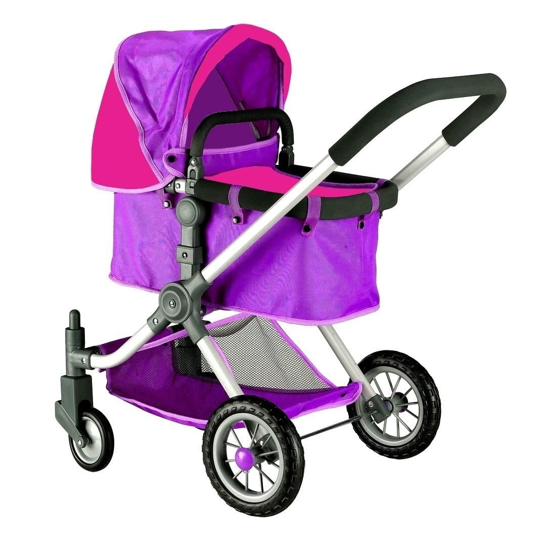 Коляска для кукол RT - фиолетовая-фуксия (с поворотными колесами)