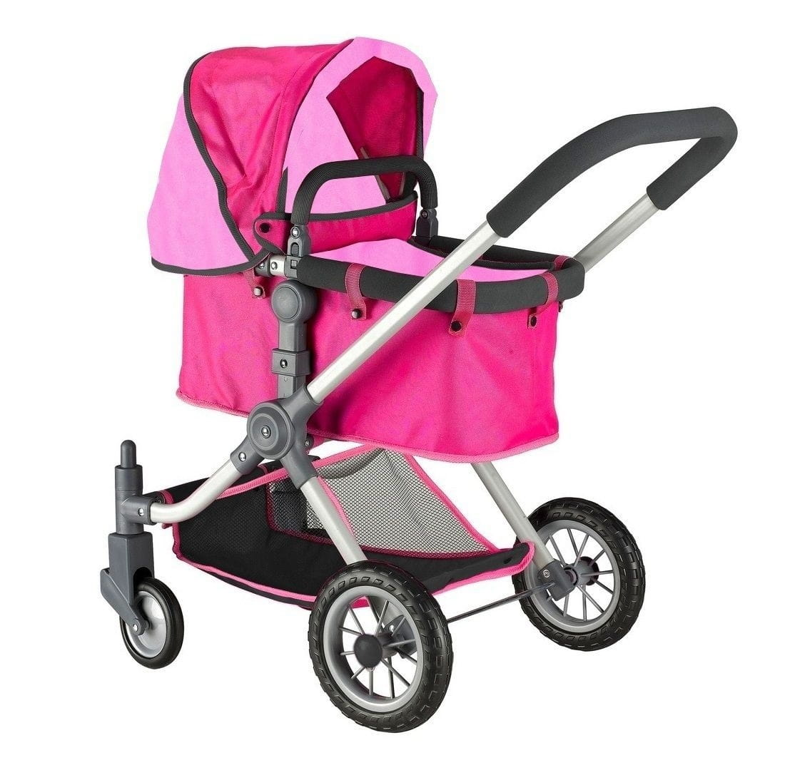 Коляска для кукол RT 5209 - фуксия-розовая (с поворотными колесами)