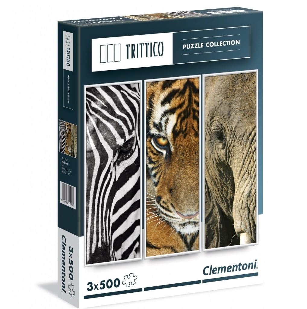 Набор из трех пазлов Clementoni 39307 Trittico Животные - 3х500 элементов