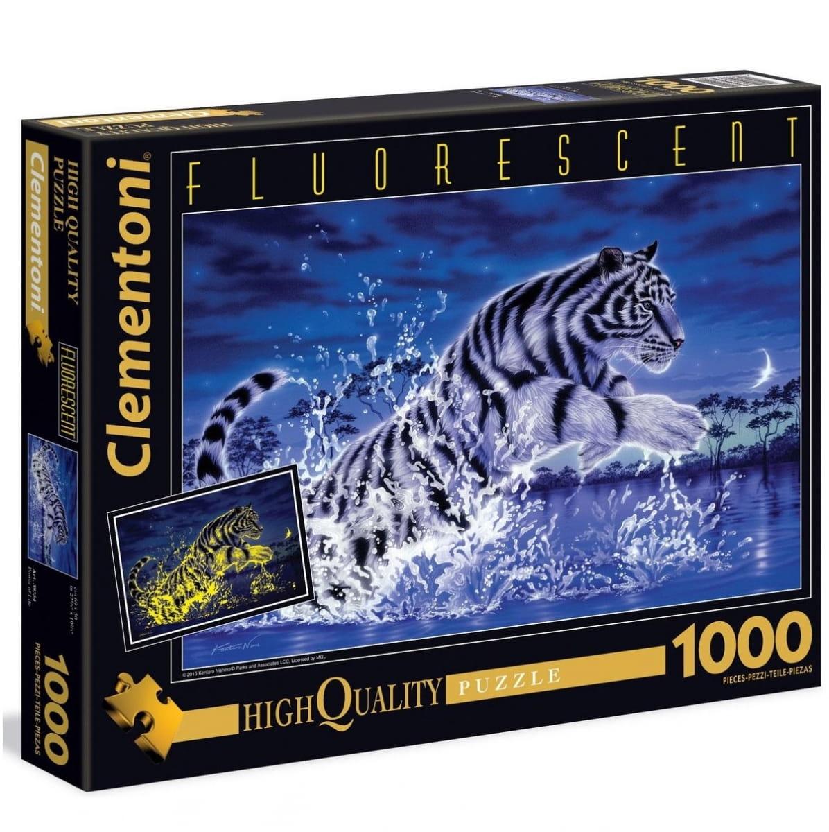 Флуоресцентный пазл Clementoni 39354 Прыжок тигра - 1000 элементов