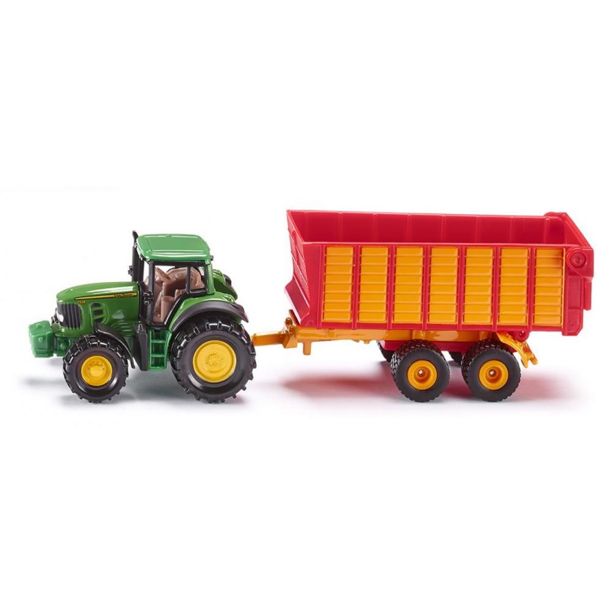 Трактор SIKU John Deere с прицепом для силоса