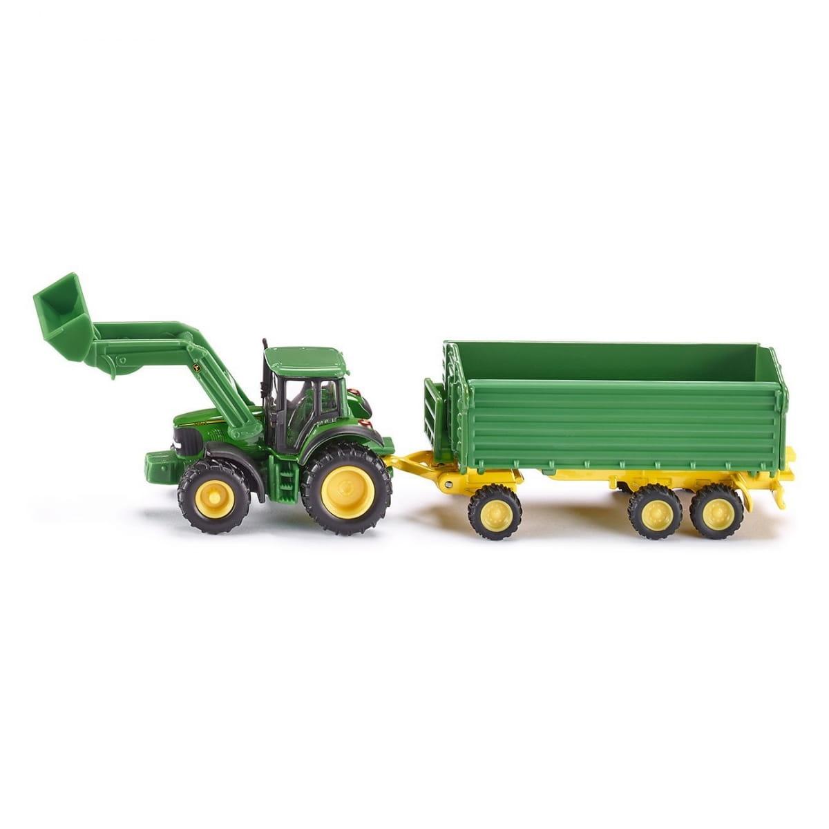 Трактор Siku John Deere с ковшом и прицепом-кузовом - зеленый