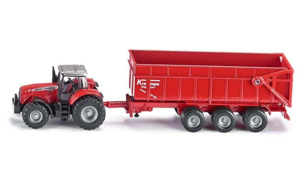 Трактор Siku Массей Фергюсон с прицепом-кузовом - красный