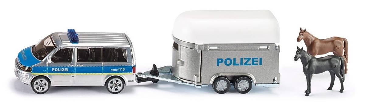 Полицейская машина SIKU с прицепом для лошадей 1:55