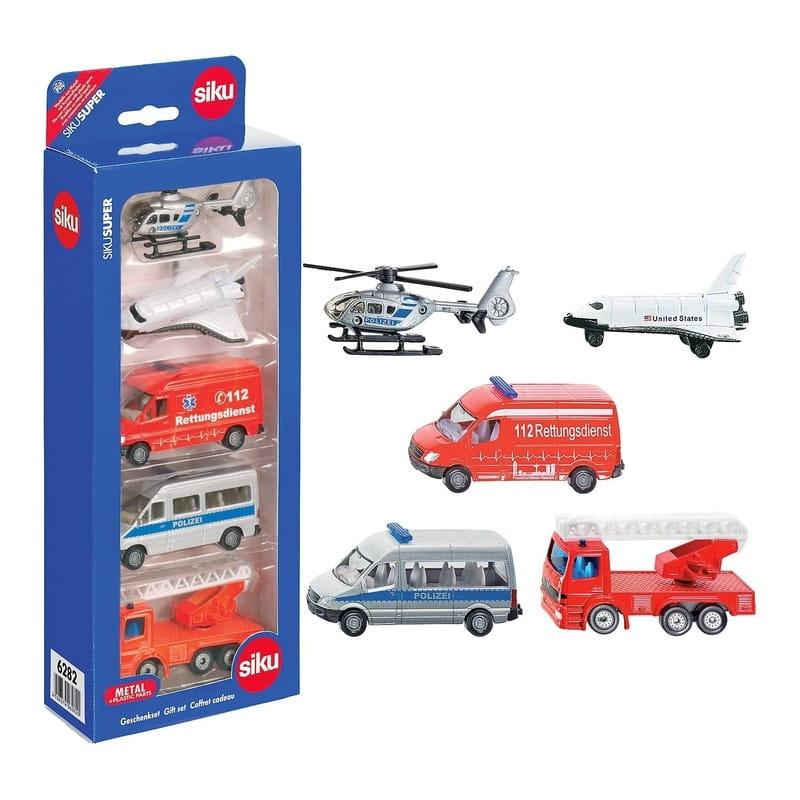 Набор машинок Siku (вертолtт, самолет, скорая помощь, полицейский фургон, пожарная машина)