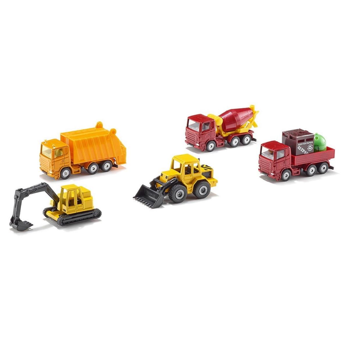 Набор машинок Siku (бетономешалка, экскаватор, грузовик, погрузчик и мусоровоз)