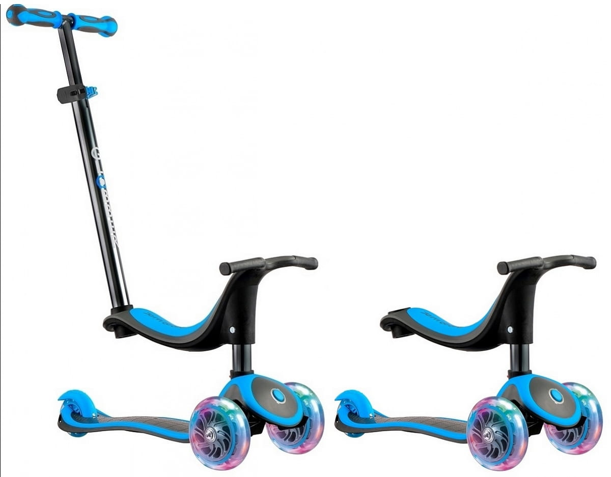 Самокат Y-Scoo Globber Evo Titanium 4 в 1  Neon Blue (со светящимися колесами) - Самокаты