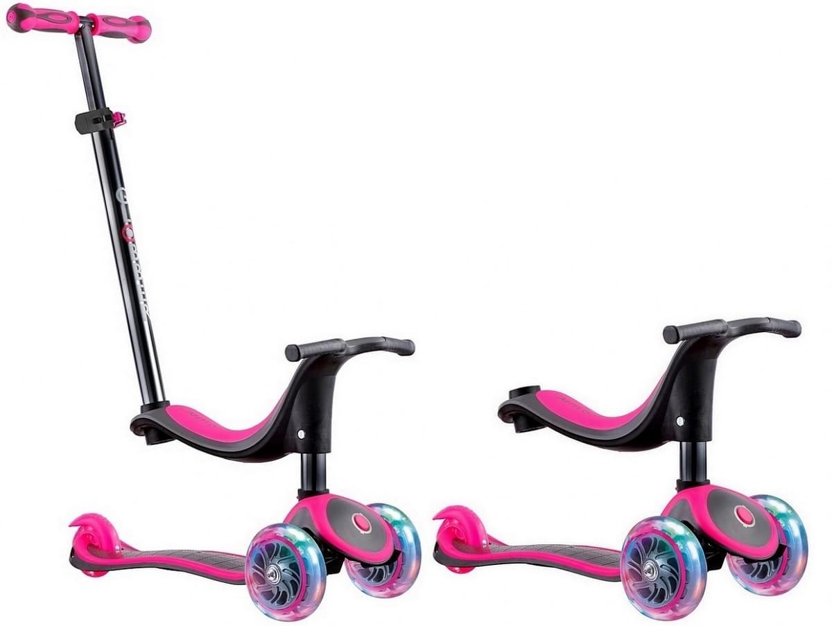 Самокат Y-Scoo Globber Evo Titanium 4 в 1  Neon Pink (со светящимися колесами) - Самокаты