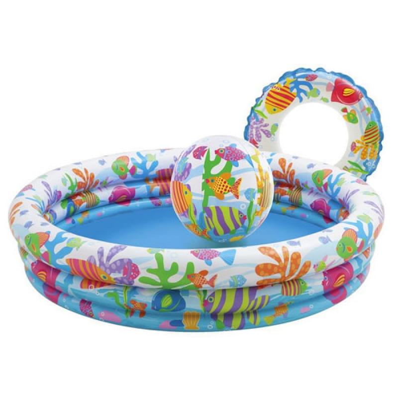 Детский бассейн Intex 59469 Рыбки 132х28 см (с мячом и кругом)