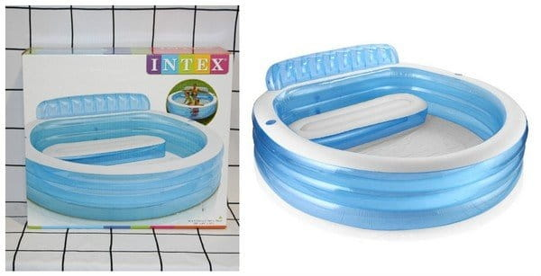 Детский бассейн Intex 57190 Семейный 224х216х76 см (с диваном и подстаканниками)