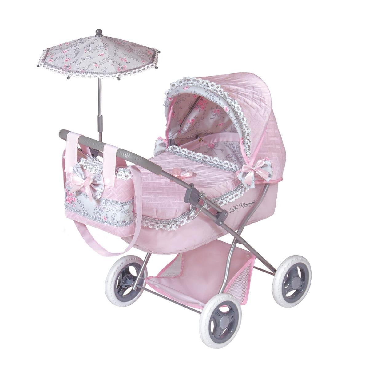 Коляска для кукол Decuevas 85019 Романтик розовая - 65 см (с сумкой и зонтиком)