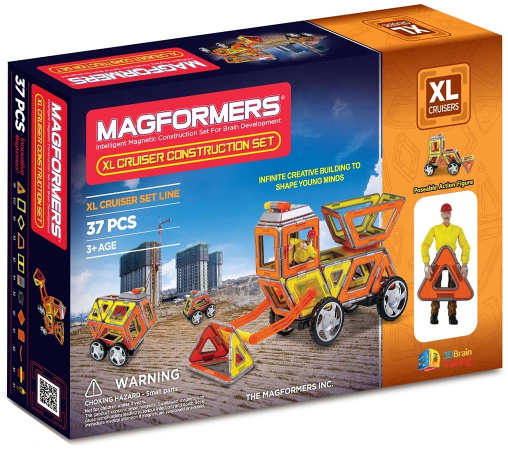 Конструктор Magformers 706003 (63080) XL Cruisers с колесами Строители (37 деталей)