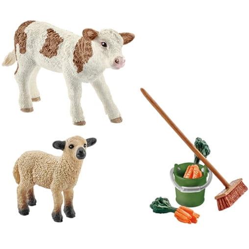 Игровой набор Schleich 41422 по уходу за животными с теленком и ягненком