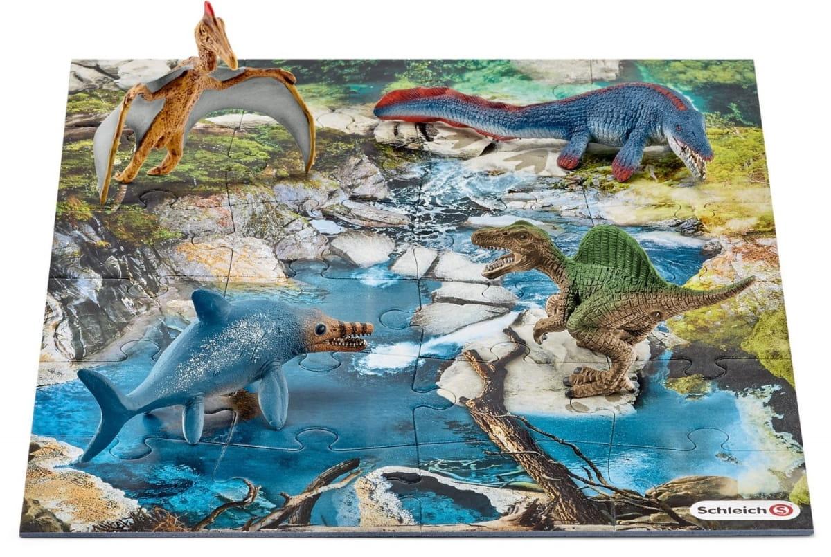 Игровой набор Schleich 42330 Мини-динозавры и пазл Болото