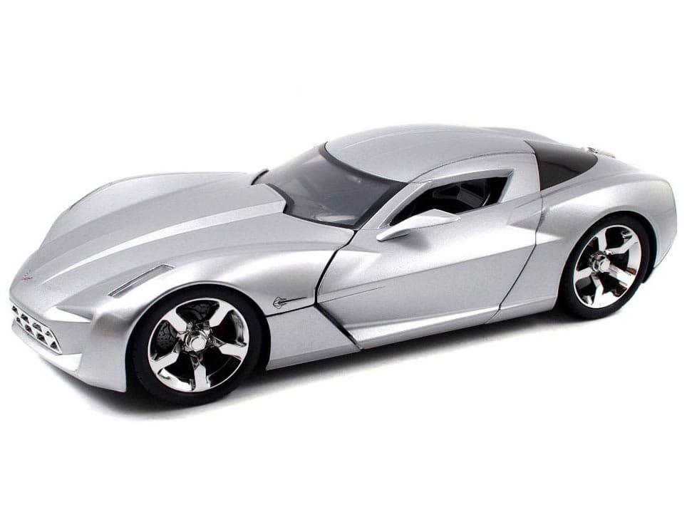 Коллекционный автомобиль Jada Toys 96326S Chevrolet Corvette Stingray Copncept - 2009 Sillver Glossy (1:18)