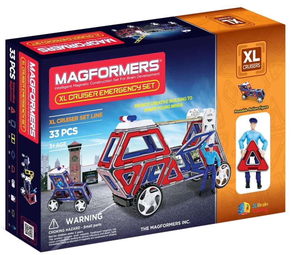 Конструктор Magformers 706002 (63079) XL Cruisers с колесами Служба Спасения (33 детали)