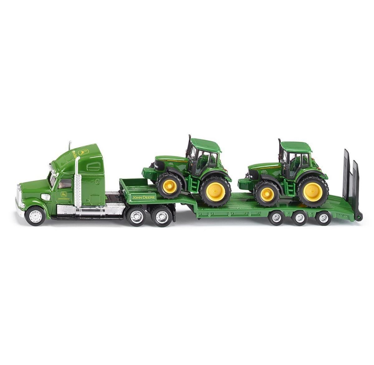Тягач SIKU с 2 тракторами Джон Дир 1:87 - зеленый