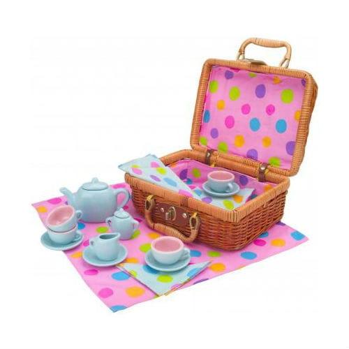 Чайный сервиз Alex 709W Горошек (в плетеном чемоданчике)