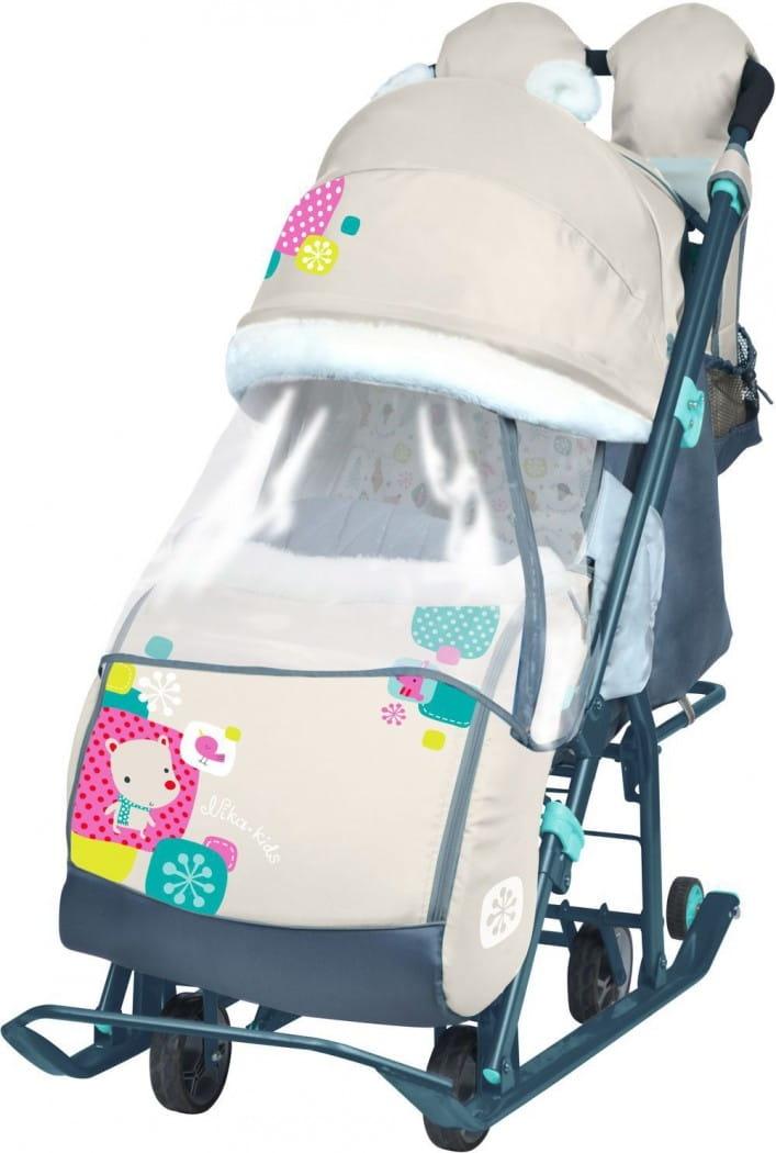 Санки-коляска Ника 1374023 - медвежонок бежевый
