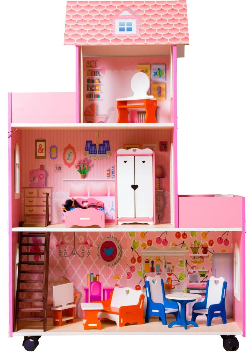 Кукольный домик ФАБРИКА ДОМИКОВ Большое розовое счастье
