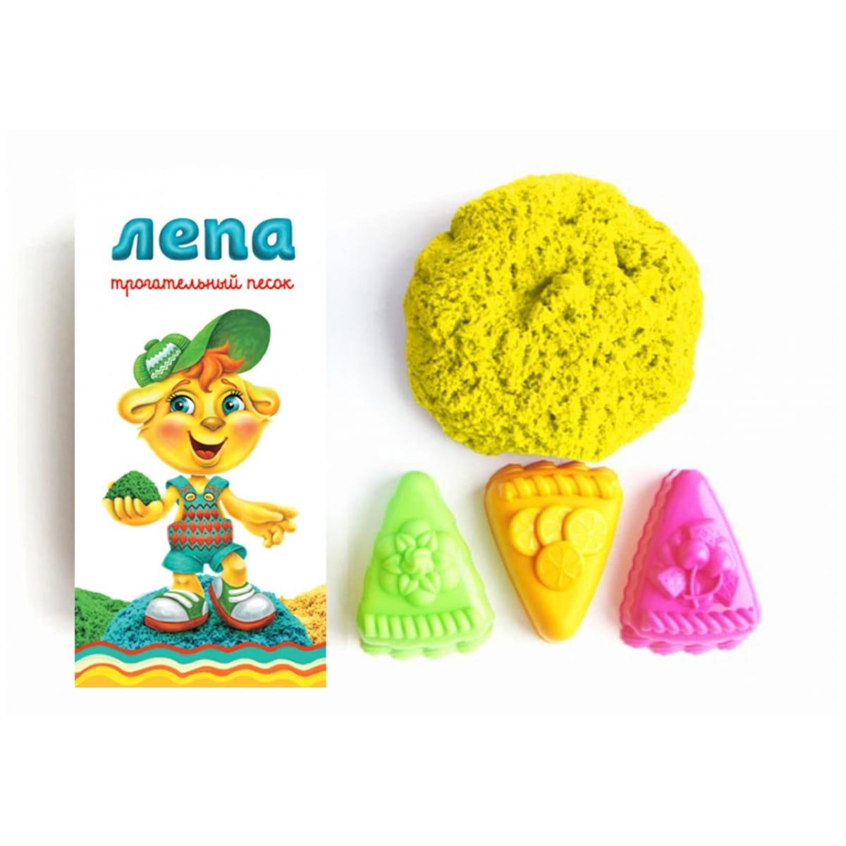 Трогательный песок Лепа 00-00000323 Пирожные - желтый (с формочками)